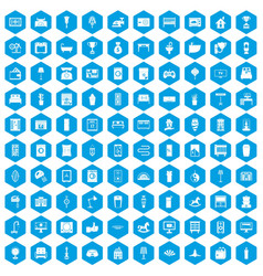 100 interior icons set blue vector image vector image
