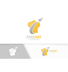 chef hat and rocket logo combination vector image vector image