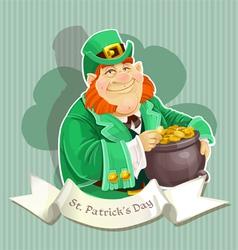Cute big fat Leprechauns guard the pot of gold vector image