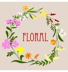 Floral frame with colorful spring flowers vector image vector image