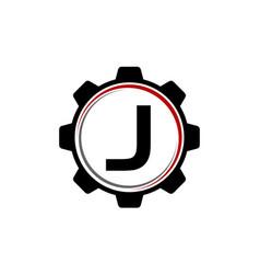 gear solution logo letter j vector image vector image