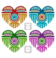 Indian pattern set in the shape of heart vector image vector image