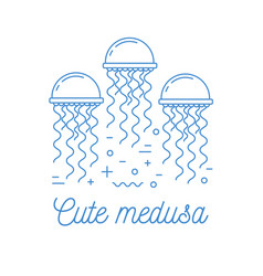 jellyfish line art logotype vector image