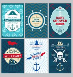 Nautical baby shower birthday beach party vector