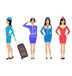 Set beautiful stewardess Air hostess in uniform vector image vector image