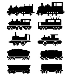 set train and railroad car vector image vector image