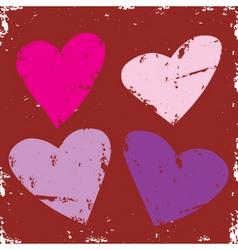 valentine grunge hearts vector image vector image