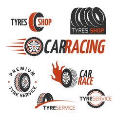 automobile rubber tire shop car wheel racing vector image