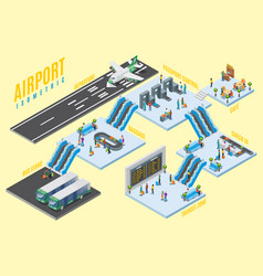 isometric airport halls concept vector image