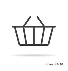 shopping basket outline icon black color vector image