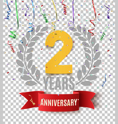 Two years anniversary background with red ribbon vector
