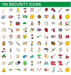 100 security icons set cartoon style vector