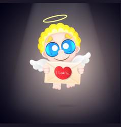 Beautiful and pretty cartoon little angel vector