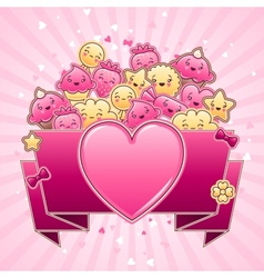 Cute child background with kawaii doodles vector image