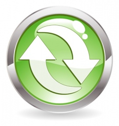 gloss button with recycling symbol vector image vector image