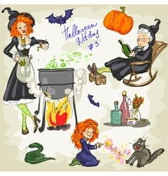 PrintHalloween Witches - 3 Hand drawn collection vector image vector image