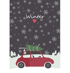retro red car with tree on the top vector image vector image