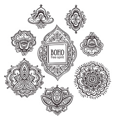 Beautiful Indian floral ornaments Set of vector image vector image