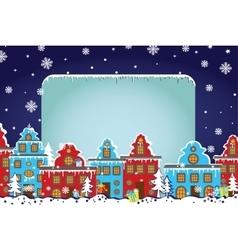 Christmas templateSanta Claus coming to City vector image vector image
