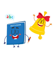 funny smiling bell and notebook characters back vector image