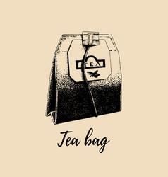 Hand drawn tea bag isolated retro vector