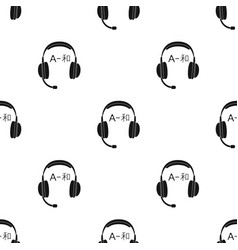 headphones with translator icon in black style vector image vector image
