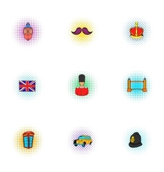 Holiday in United Kingdom icons set pop-art style vector image vector image