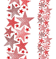 Red stars seamless pattern vertical composition vector image