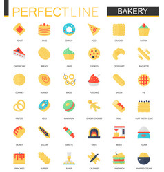 set of flat bakery food icons vector image