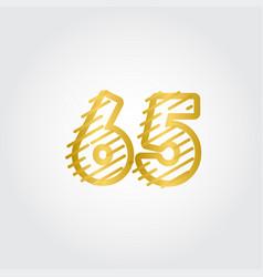65 years anniversary gold line design logo vector