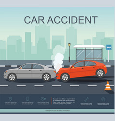 Accident with two cars on road vector