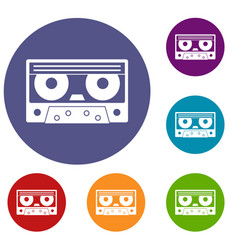 Audio cassette tape icons set vector