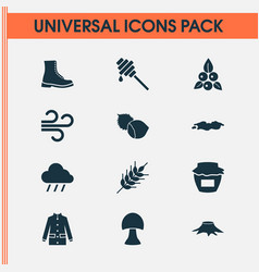 Autumn icons set with hazelnut coat rain and vector