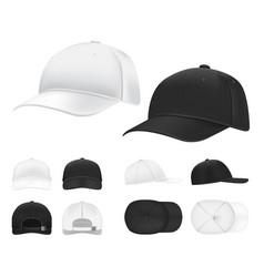 baseball cap black and white blank sports uniform vector image