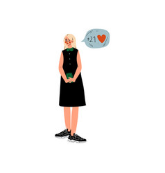 beautiful blonde girl in black dress chatting vector image