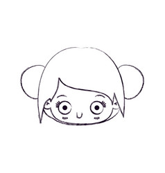 Blurred thin silhouette of kawaii head cute little vector
