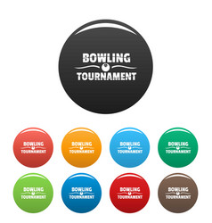 bowling tournament icons set color vector image