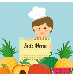 Boy fruits and kids menu concept vector