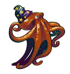brown octopus in the hat wizard inhabitants of vector image