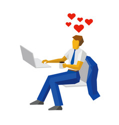 Businessman at a computer thinking about love vector