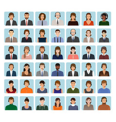 call center employee avatars set with headset vector image