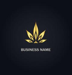 Cannabis leaf gold logo vector