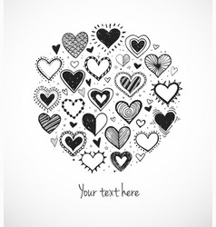 Card with doodle sketch hearts and place for your vector