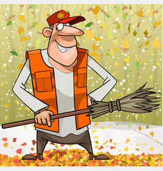 cartoon cheerful janitor with broom in autumn park vector image