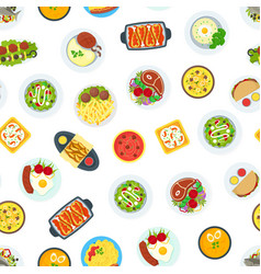 cartoon home cooking healthy foods dishes menu vector image
