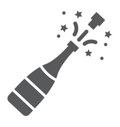 Champagne bottle pop glyph icon alcohol vector