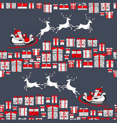 christmas seamless pattern santa claus and vector image