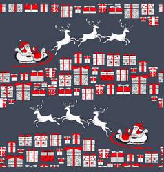 christmas seamless pattern santa claus and vector image