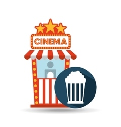 cinema movie ticket office pop corn graphic vector image