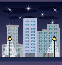 Cityscape with buildig in the night vector